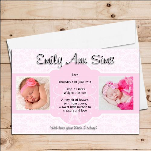 10 Personalised Baby Girl Birth Announcement Thank You PHOTO Cards N110